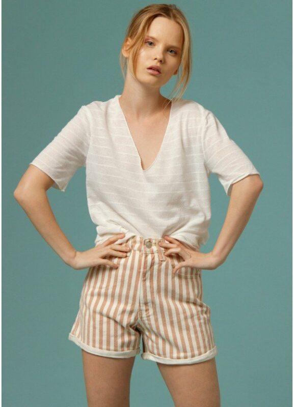 Pantaloni scurti dama casual cu dungi