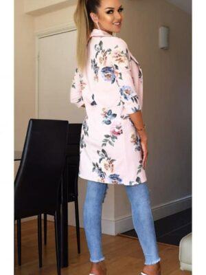 Jacheta lunga casual cu imprimeu floral