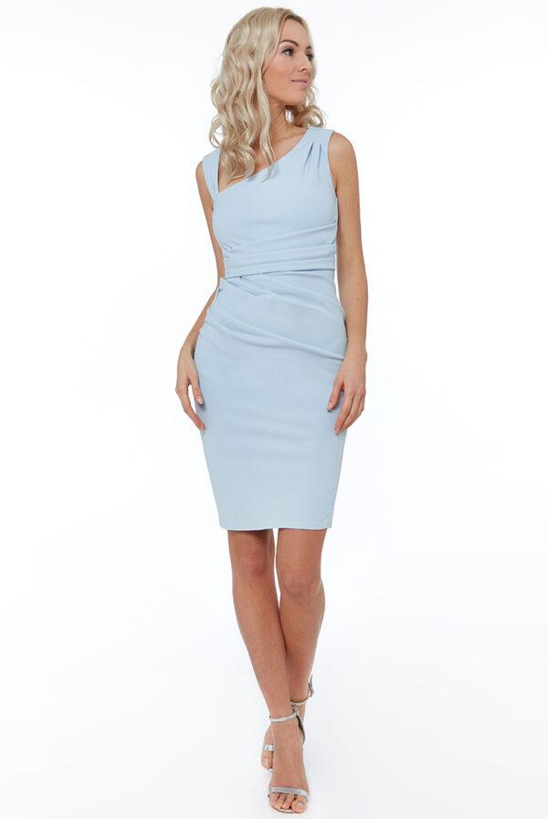 Rochie de ocazie bleu cu pliuri