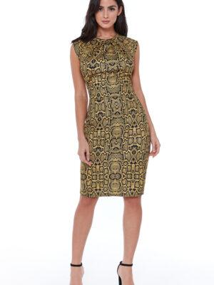 Rochie office cu imprimeu leopard