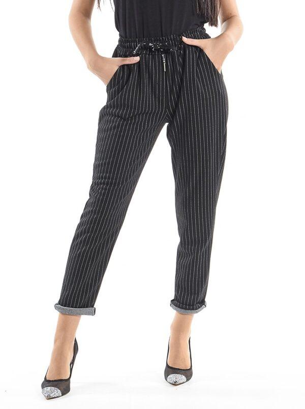 Pantaloni casual negri cu dungi