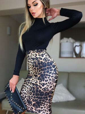 Rochie casual cu imprimeu leopard