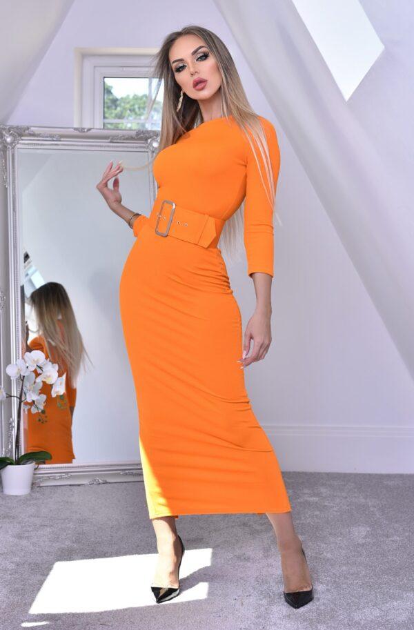 Rochie lunga neon cu curea