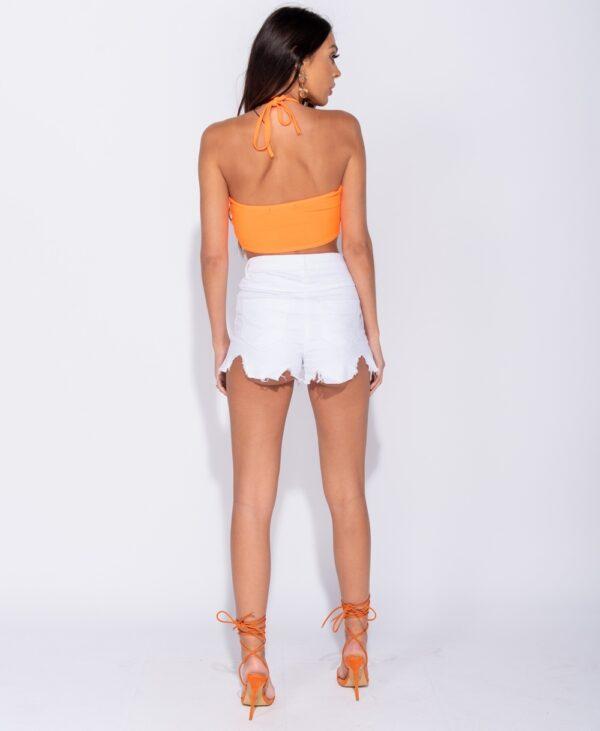 Pantaloni scurti denim alb