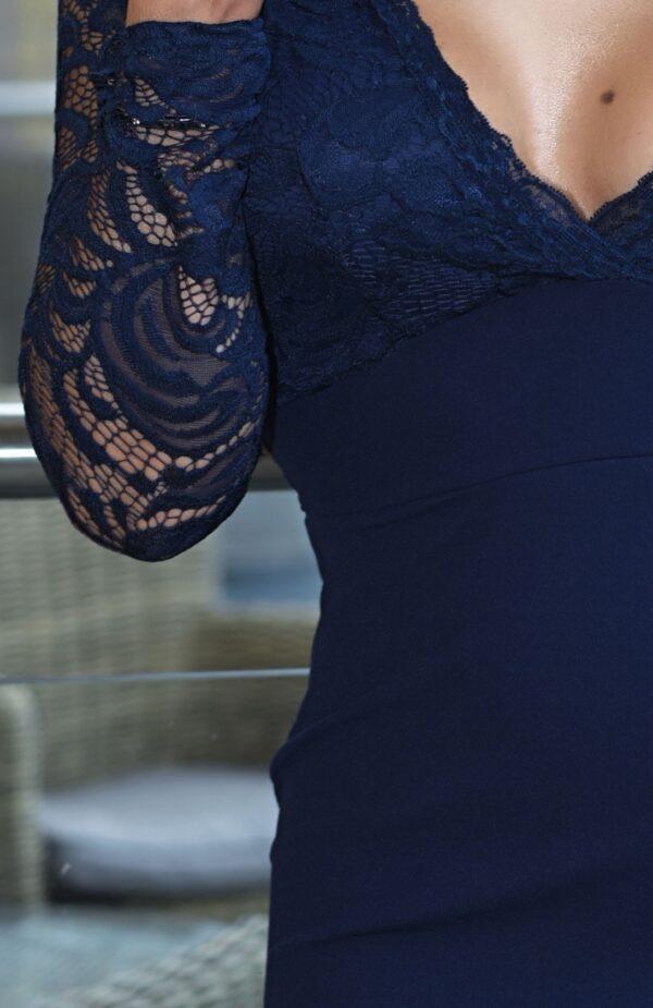 Rochie bleumarin de ocazie cu dantela