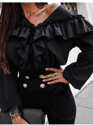 Bluza neagra casual cu volane