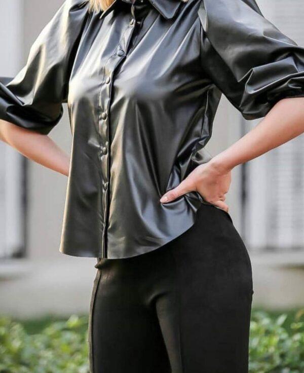 Camasa neagra din piele scurta