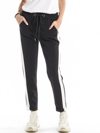 Pantaloni negri casual cu croi drept