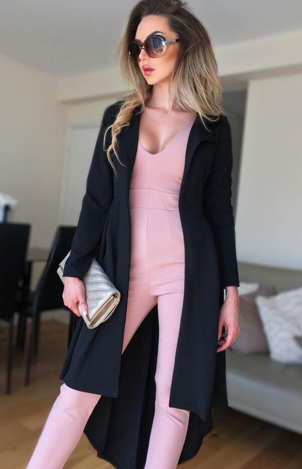 Jacheta neagra eleganta lunga in clos