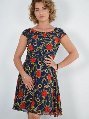 Rochie de zi din voal imprimat