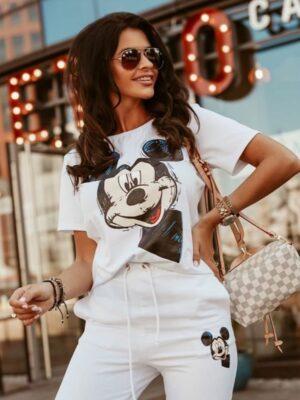 Trening alb cu Mickey Mouse