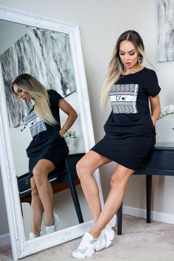 Rochie tricou neagra cu imprimeu