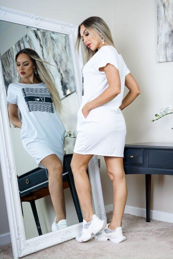 Rochie tricou alba cu imprimeu