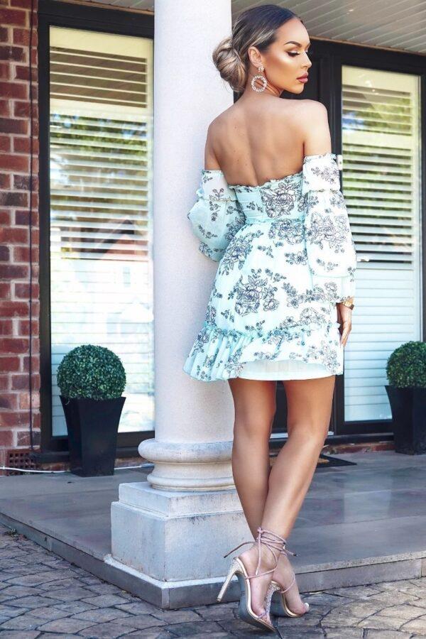 Rochie de zi vernil cu imprimeu floral