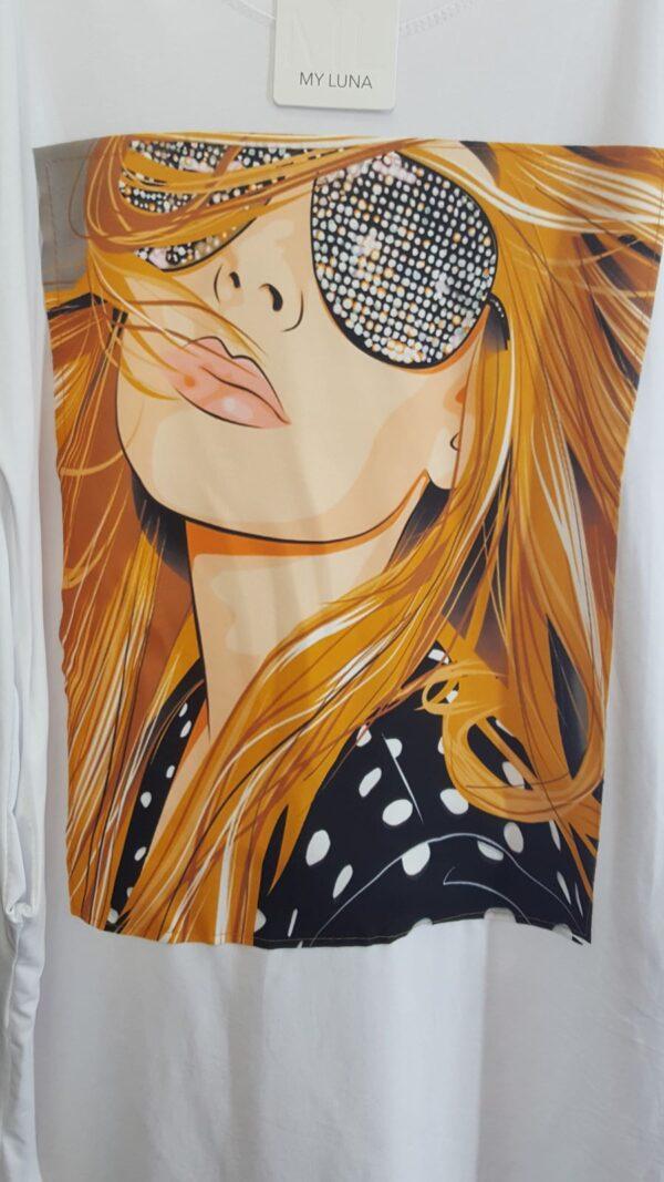 Rochie alba lunga cu imprimeu