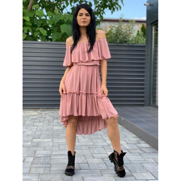 Rochie de zi cu volane roz