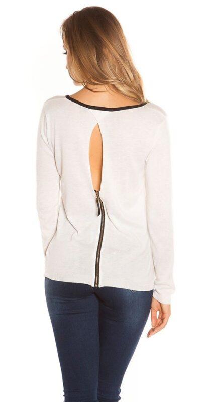 Bluza alba scurta cu spatele gol