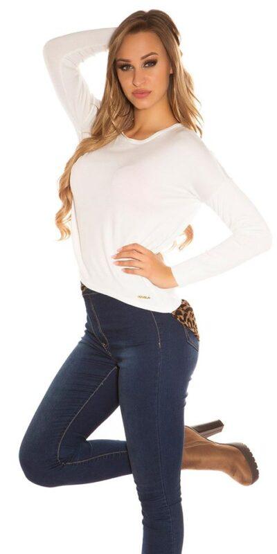 Bluza alba scurta croi lejer cu model leopard