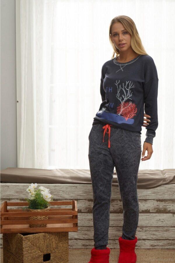 Pijamale dama din bumbac cu pantalon lung