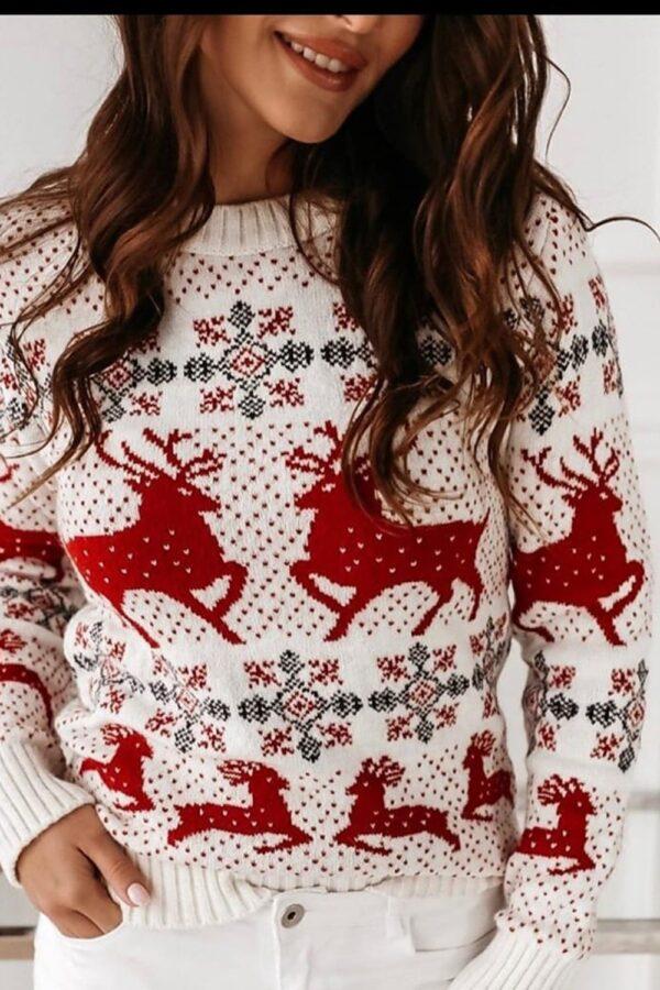 Pulover rosu de sarbatori din tricot