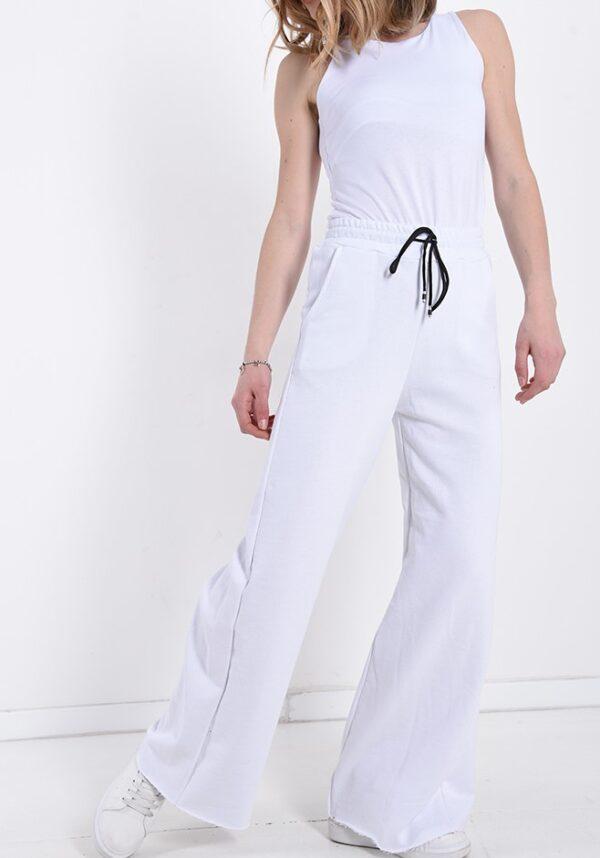 Pantaloni dama largi cu elastic albi
