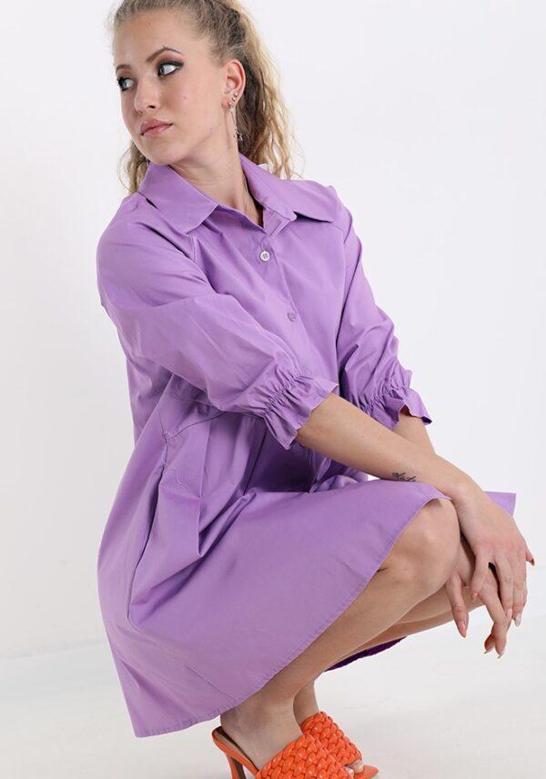 Rochie camasa lunga din bumbac mov