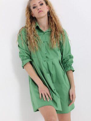 Rochie camasa lunga cu buzunare verde
