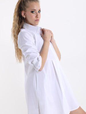 Rochie camasa lunga cu buzunare alba