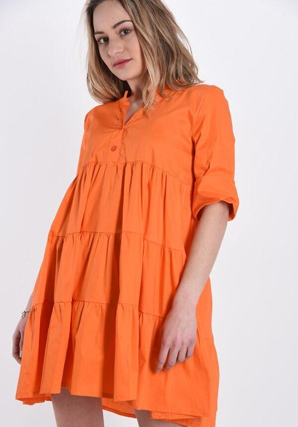 Rochie de zi bumbac portocaliu